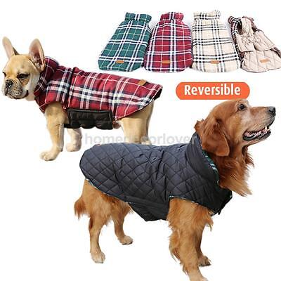 Pet Dog Waterproof Reversible Plaid Jacket Coat Padded Warm Clothes Red M