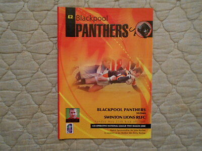 Blackpool Panthers V Swinton Lions National League Two Match Programme 2008