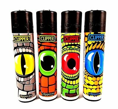 4 Clipper Lighters - Reptile Eye - Rare Collection - Black Top Lizard x4 pcs