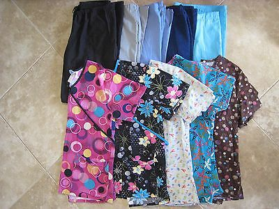 womens scrubs lot scrub top and bottoms lot size SMALL