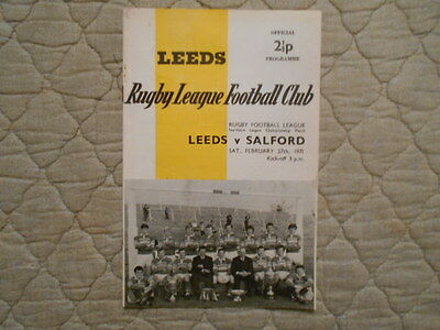 Leeds V Salford Rugby League Match Programme 1971