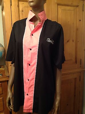 "Cruisin USA Size XL Womens Bowling Shirt PINK Black Embroidered ""CHRISTIE"""
