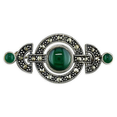 A Marcasite & Green Stone Art Deco Style Sterling Silver Brooch