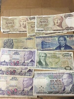 Turkish GREECE Mexico Old Bank Notes