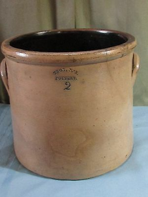 Antique Stoneware 2 Gal. Earred Crock / Troy N.Y.