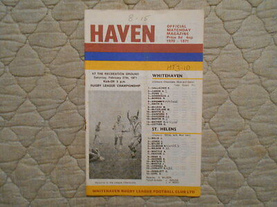 Whitehaven V St Helens Rugby League Match Programme 1971
