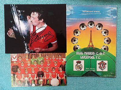 1981 - EUROPEAN CUP FINAL PROGRAMME + SIGNED PHOTO - REAL MADRID v LIVERPOOL