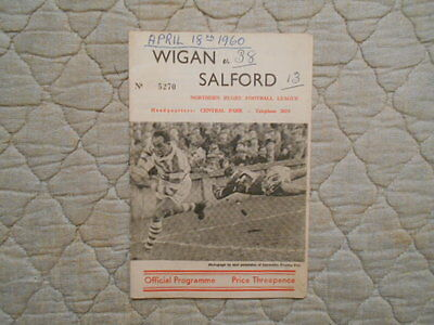 Wigan V Salford Rugby League Match Programme 1960