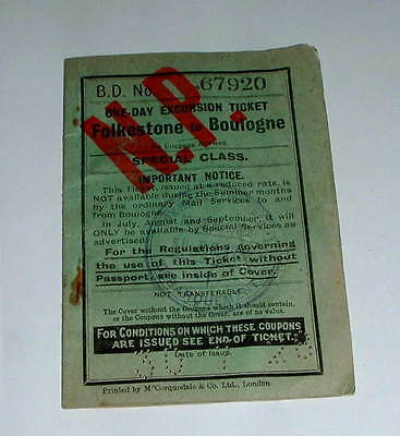 1928 Steam Ship Tickets  Folkestone To Boulogne, Issued By Southern Railway