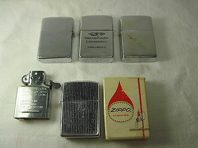 Vintage Lot of 4 Complete Zippo Lighters 1950's-60's, 1 w/Box and 1 New Insert