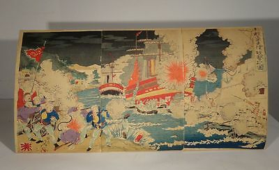 Antique Japanese Woodblock Print Triptych Russo Japanese War Signed Mounted