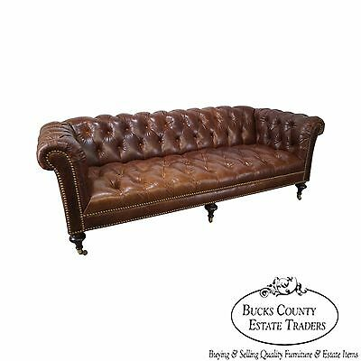 Quality Brown Tufted Leather Chesterfield Sofa possibly Ralph Lauren