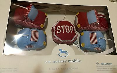 NWT POTTERY BARN Car Mobile Red & Blue New Box Sold Out Crib Nursery