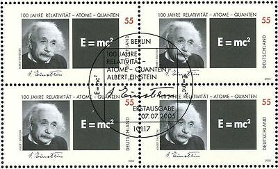 Albert Einstein. Bloc of 4 stamps with rare special cancel. Germany 2005.