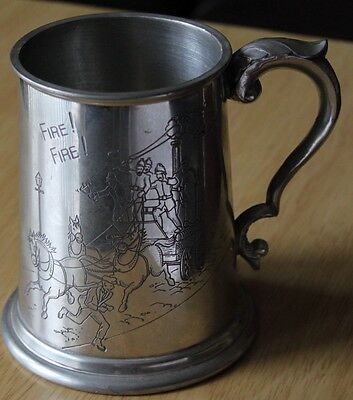 Pewter Tankard Fire Service Picture Engraved