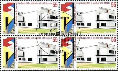 Bauhaus Architecture. Bloc of 4 stamps with rare special cancel. Germany 2004.