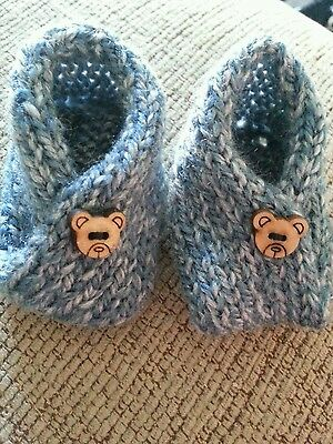 Hand Knitted, Premature baby clothing.Boys,Blue, Booties,Slippers, -NEW