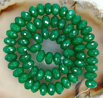 "5x8mm Faceted Emerald Abacus Gemstone Loose Beads 15"" H-01"