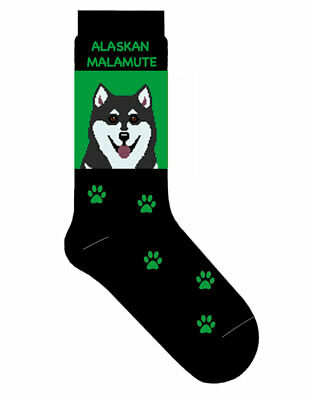 Alaskan Malamute Socks Cotton Crew Stretch Egyptian Made Green