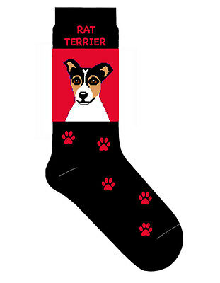 Rat Terrier Socks Cotton Crew Stretch Red