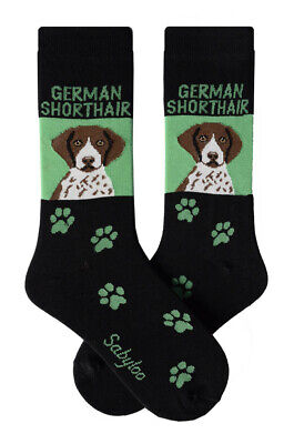 German Short Hair Socks Cotton Crew Stretch Egyptian Made Green