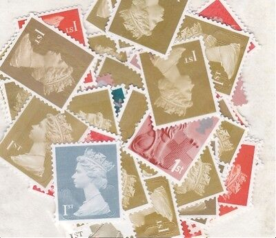 50 x 1st CLASS STAMPS UNFRANKED,  NO GUM,  OFF PAPER,  FACE VALUE £32.00.