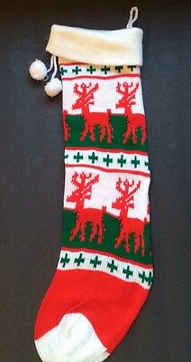 """Vintage Knit Xmas Stocking Pom Poms Reindeer 21"""" White Red Green GUC excep Name"""