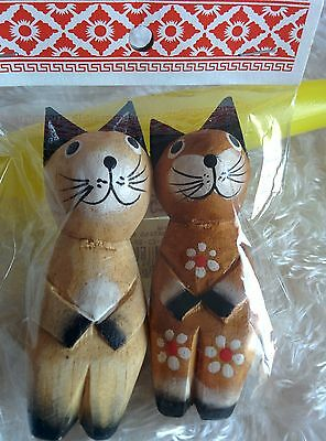 2 Handcrafted Wooden Kitty Kitten Cats Made in Bali Indonesia