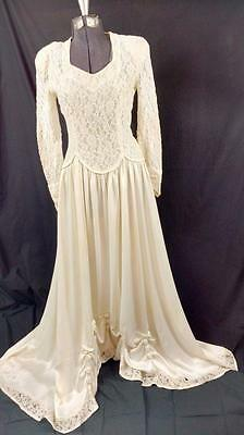 Vintage 20's Timeless Wedding Gown Lace Satin Small