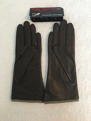 Grandoe Womens Brown Touchscreen Classic Leather Gloves Size Small MSRP $75.99