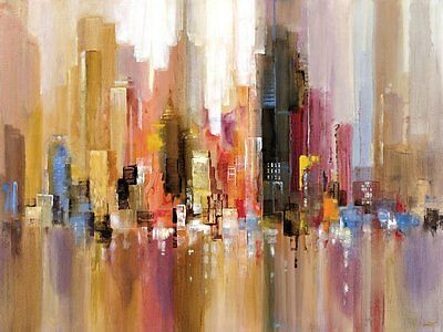 Abstract Cityscape Painting Framed Wall Art Canvas Decor Large Print Picture New
