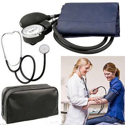 Blood Pressure Cuff Stethoscope Meter Gauge Aneroid Sphygmomanometer Travel RT