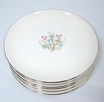 6 Taylor Smith Taylor China Bittersweet Bread Plates Blue Pink Mid Century