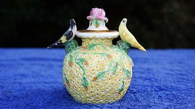 Rare Early Spode Meissen Schneeballen Perfume Bottle Yellow Flowers & Birds 1820