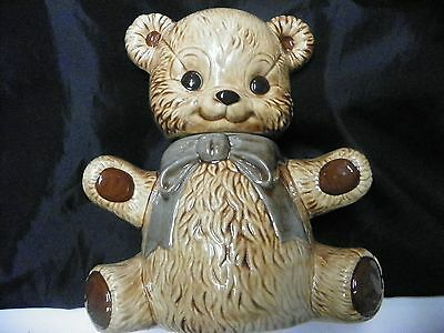 Teddy Bear Cookie Jar In Red Bow