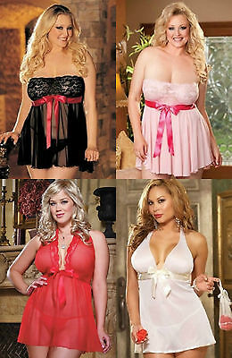 Plus Size Lingerie Sexy Lingerie Underwear Babydoll Sexy Lace Sheer Negligee Uk