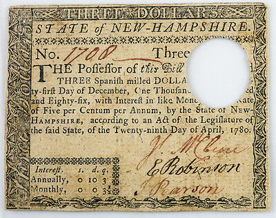 New Hampshire $3 THREE Spanish Milled Dollars April 29 1776 Colonial Currency