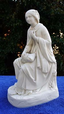 Fine Large Antique Parian Figurine, Young Girl Seated.  Copeland, Minton?