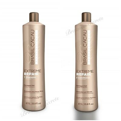 BRASIL CACAU EXTREME REPAIR SHAMPOO & CONDITIONER 1.L BOTTLE NEW by CADIVEU