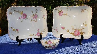 Good Pair Oblong Trays and Trinket Dish, Limoges, Haviland. Bennett Brothers