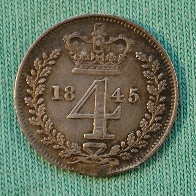 1845 Victoria Young Head Silver Maundy Fourpence (VF)