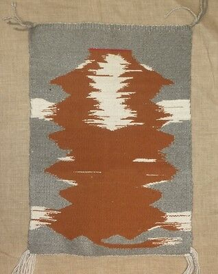 """Navajo Rug, Pictorial of Cowhide, Hand-Woven by Annie Lesley, 1986, 23""""x16"""""""