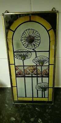 vintage floral Sunflower glass stained panel