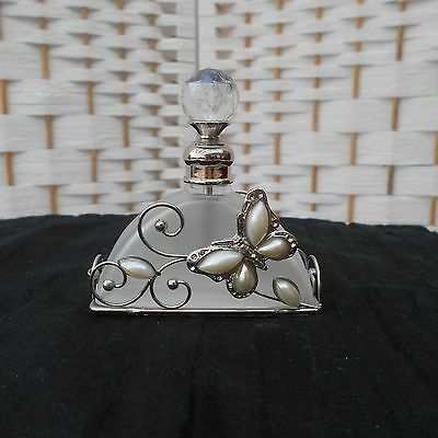 Charming Decorative Frosted Glass Perfume Bottle With Butterfly Dabber