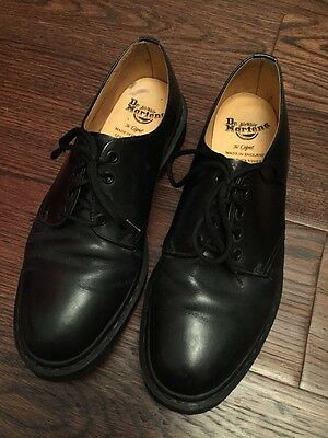 Men's Black 5 Hole Size 10 Dr Martens Leather Shoes Vintage Made in England  DMs