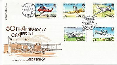 1985 ALDERNEY  FDC -  50th Anniversary of Airport