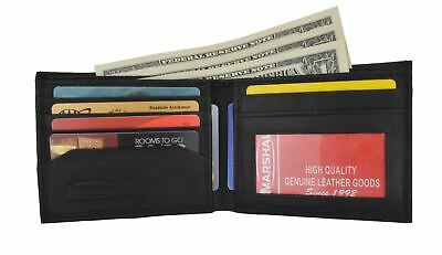 Mens Soft Lamb Genuine Leather Slim ID Credit Card Bifold Wallet