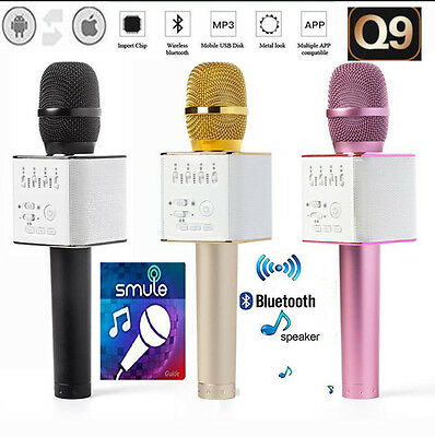 Q9 Bluetooth Wireless Handheld Microphone KTV Karaoke Stereo USB Player Mic Gold
