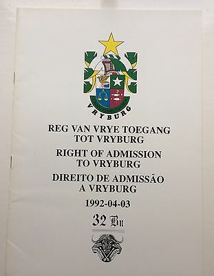 South African 32 Battalion 'Freedom Of Vryburg' Parade Programme