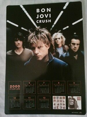 Bon Jovi - Crush Year 2000 RARE PROMO Calender* Nickleback GNR U2 Aerosmith Kiss